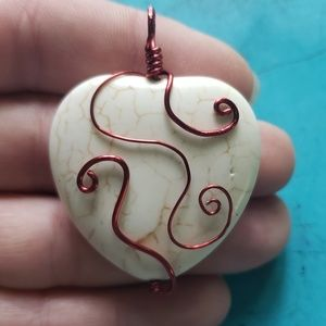 Wire Wrapped White Turquoise Heart
